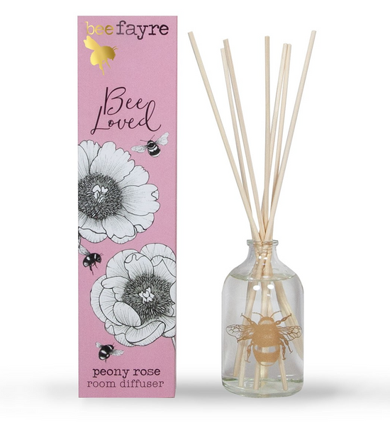 Bee Loved Peony Rose Large 100ml Room Diffuser by Beefayre.