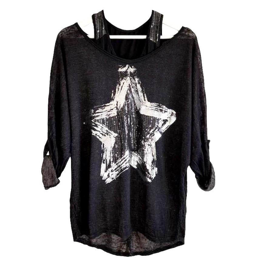 Sequin Star Motif T Shirt