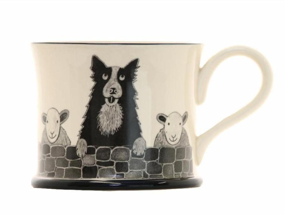 Sheepdog Earthenware Mug by Moorland Pottery