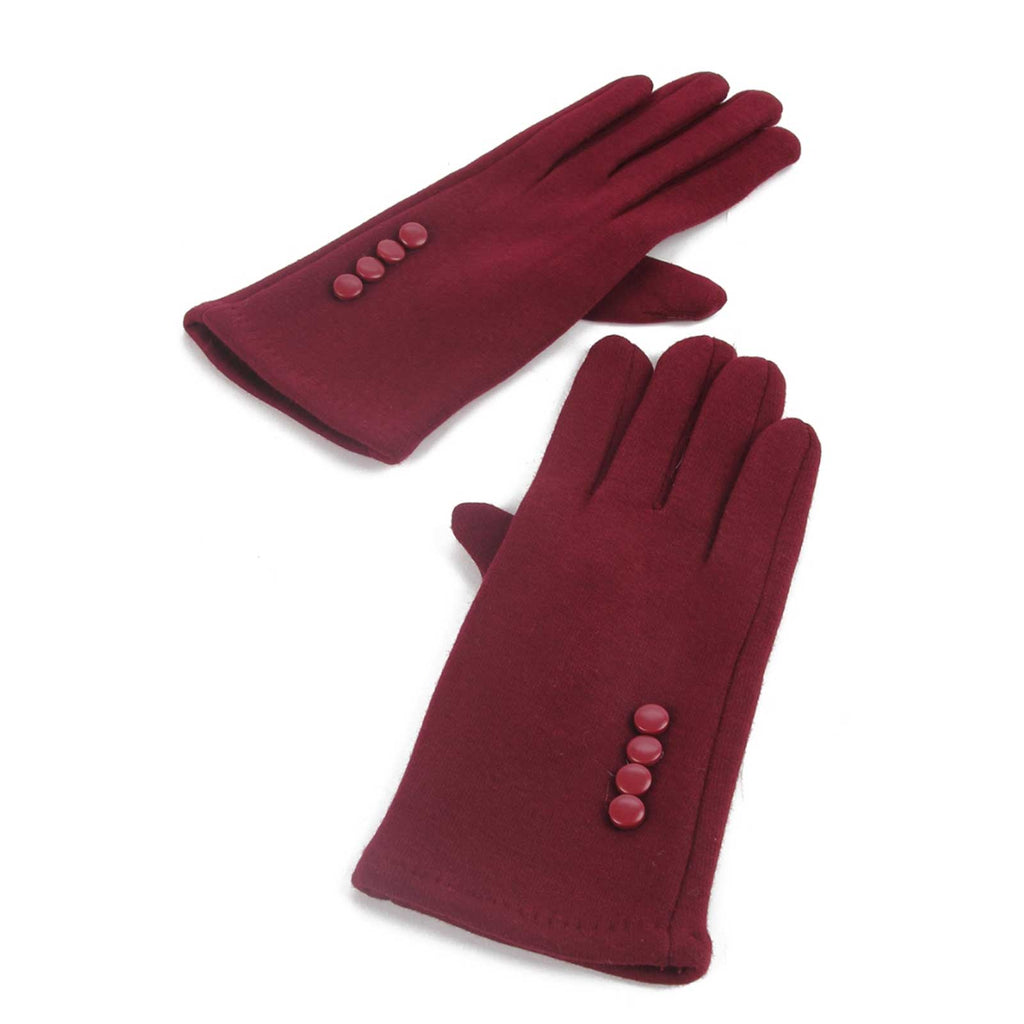 Side Button Touch Screen Gloves Wine Red