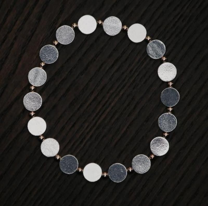 Silver Disc and Rose Gold Bead Bracelet
