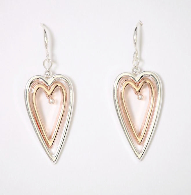 Silver heart with rose gold inset fish hook earrings by Sarah Tempest
