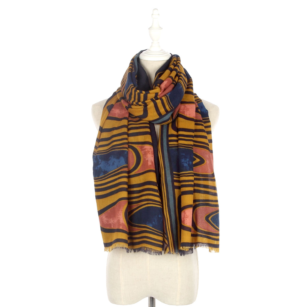 Stained Glass Print Frayed Scarf Mustard