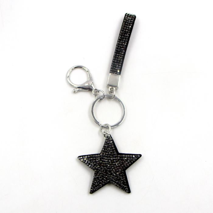Dark crystal encrusted Star and Strap keyring by Sarah Tempest