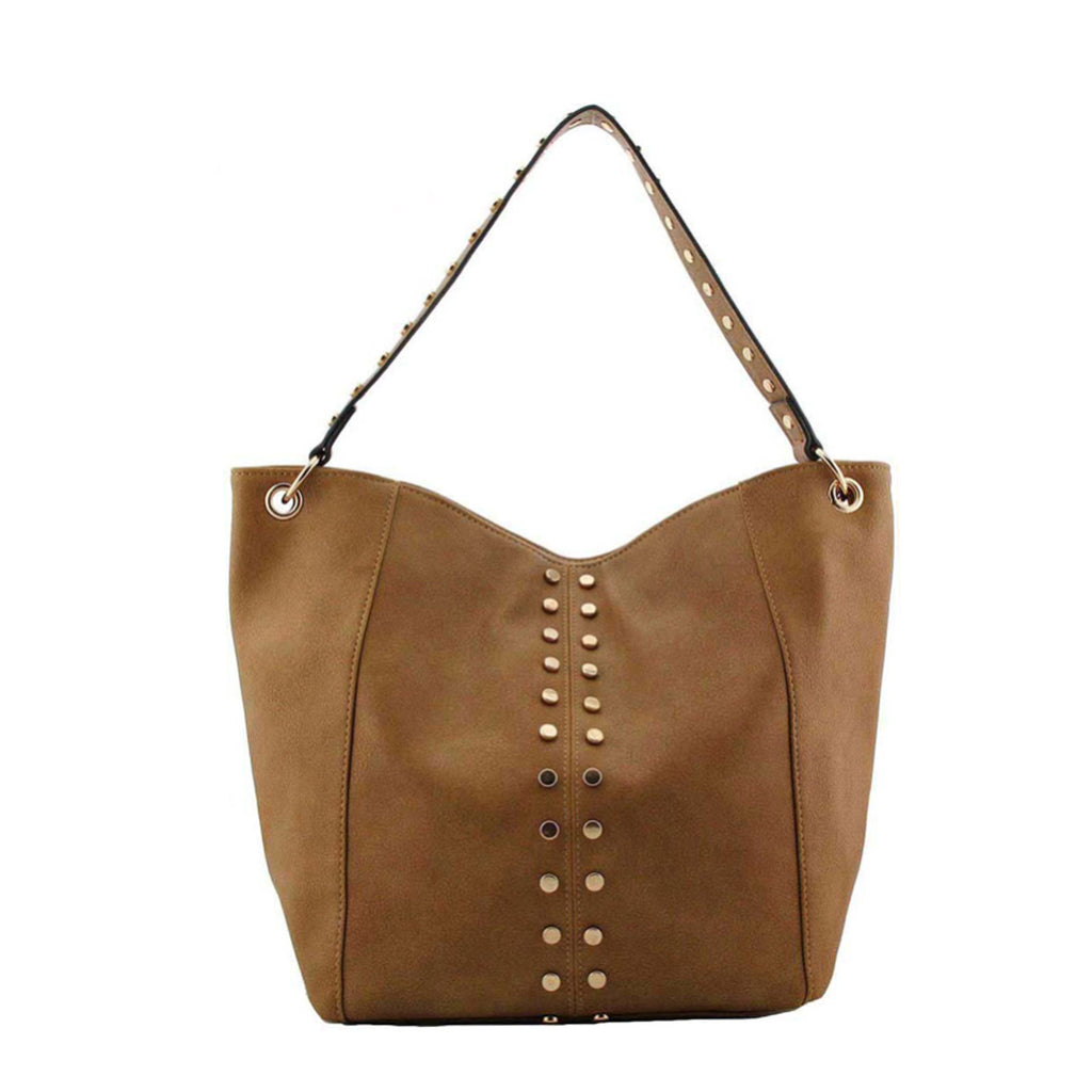 Studded Shoulder Bag with Zip Top Closure