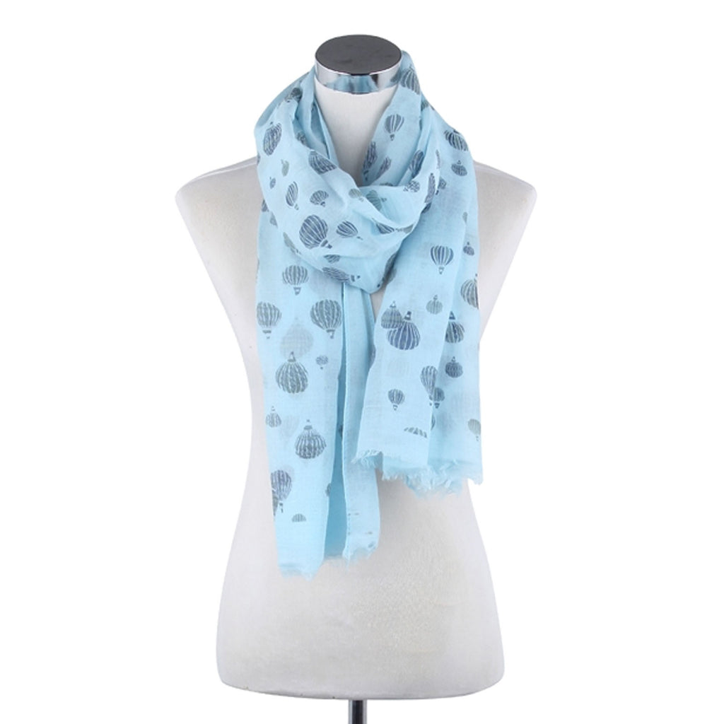 Sweet Hot Air Balloon Pattern Frayed Scarf Blue