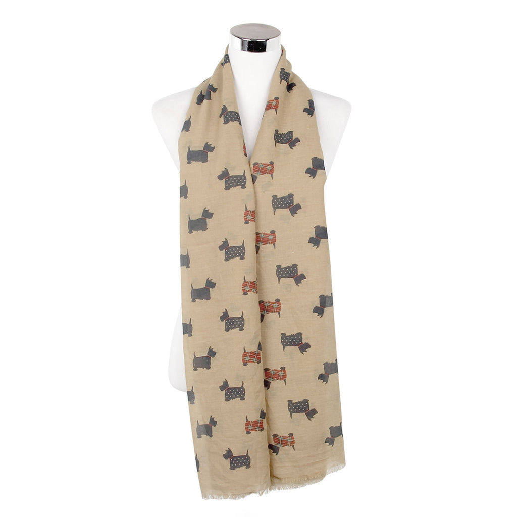 Tartan & Dotted Scottie Dog Print Frayed Scarf Beige