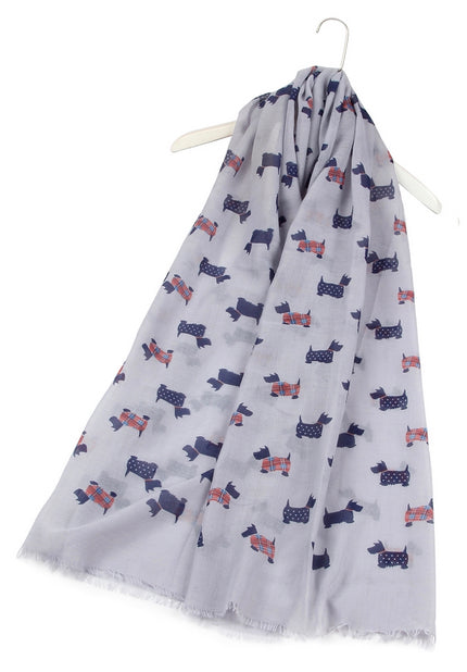 Tartan & Dotted Scottie Dog Scarf in Grey