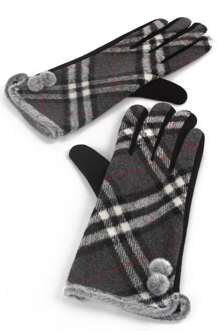 Tartan Fleece Side Pom Pom Gloves.
