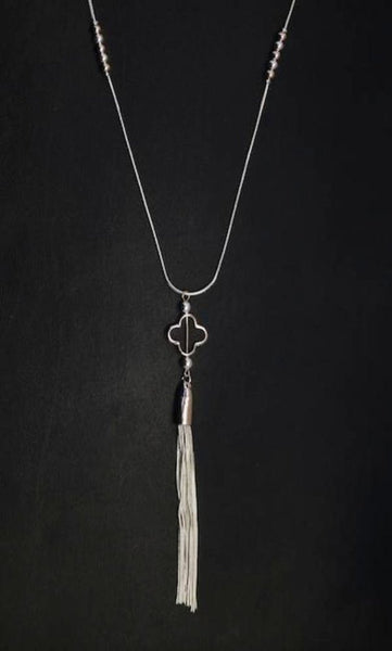 Tassel Pendant Long Necklace with Rose Gold Detail