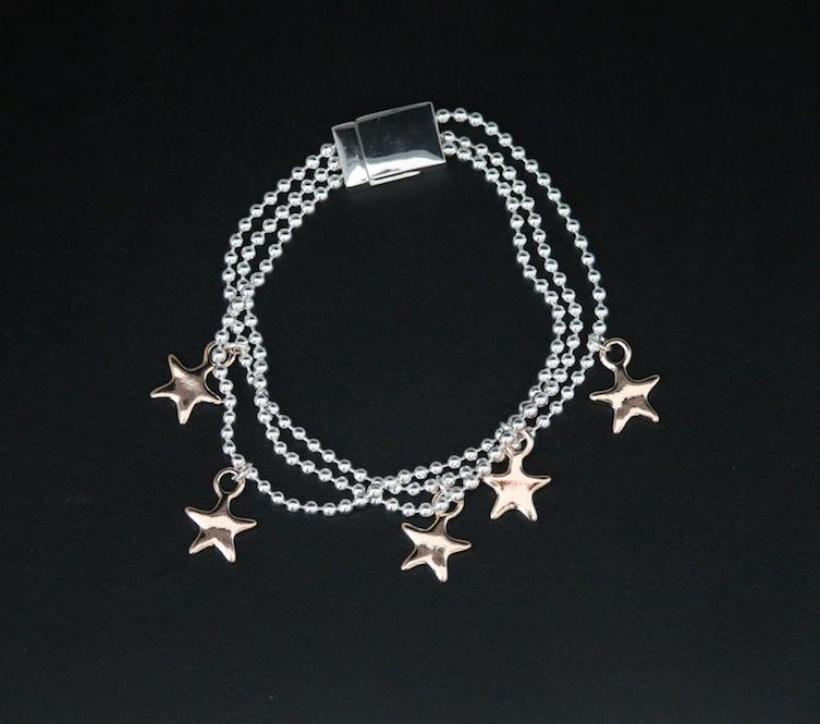 Triple Strand Bracelet with Star Charms by Sarah Tempest