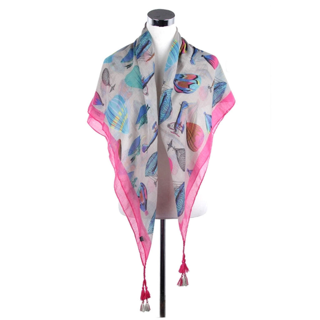 Vintage Hot Air Balloon Pattern Scarf With Tassels