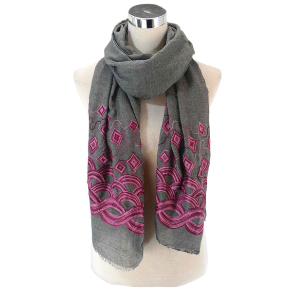 Waves and Diamond Embroidery Frayed Scarf