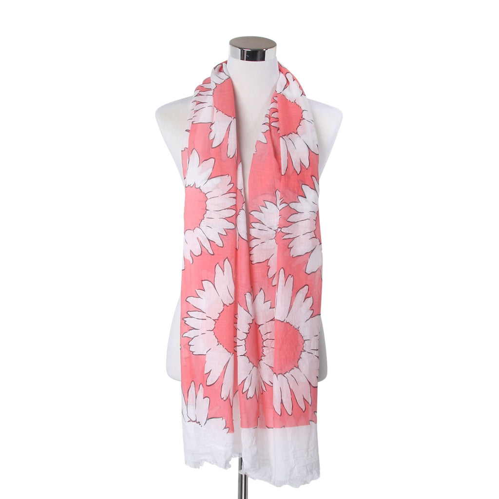 White Petal Floral Print Frayed Scarf Pink
