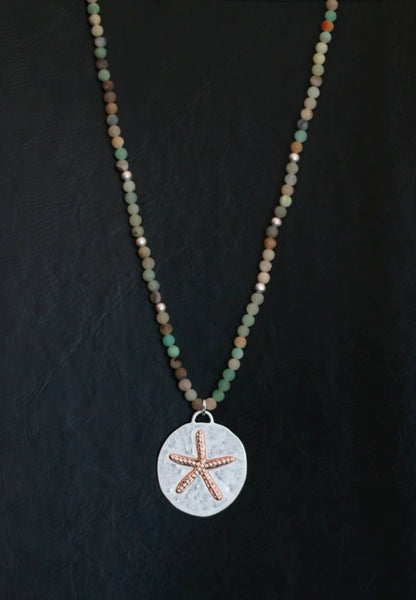 Amazonite long beaded necklace with starfish pendant designed by Sarah Tempest