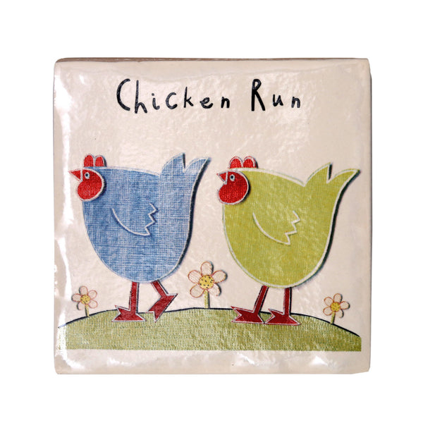 Chicken Run Coaster by Moorland Pottery