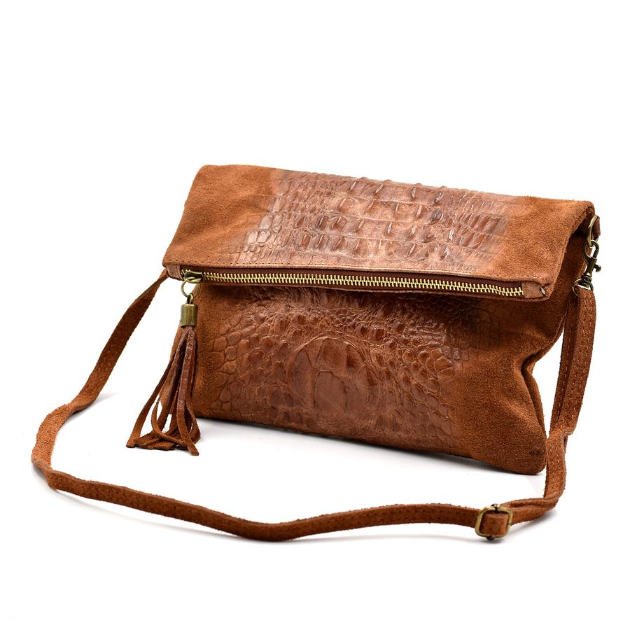 Italian suede clutch bag with croc panel detail in Cognac