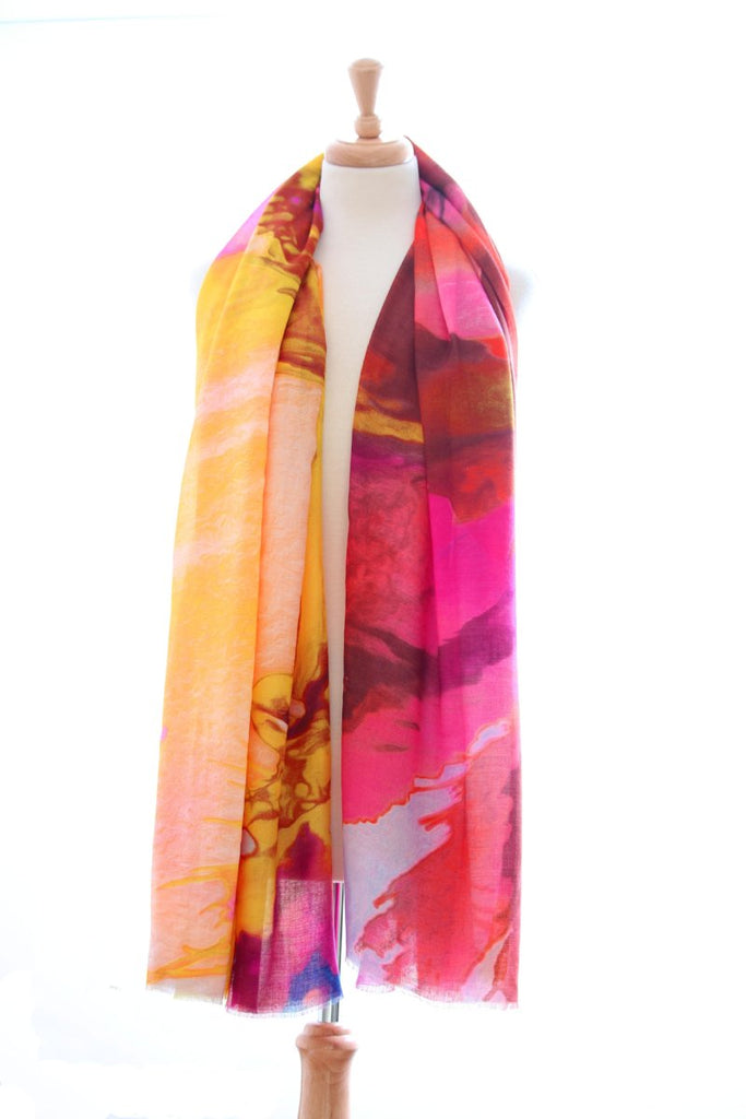 Cotton print Pink and Yellow Scarf