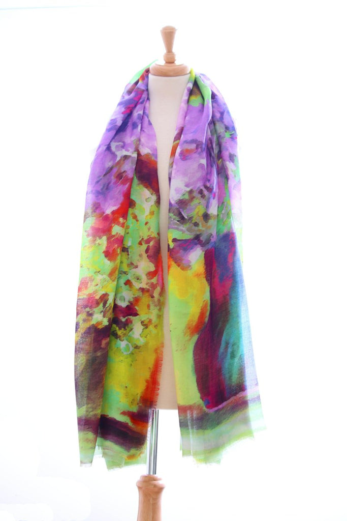 Cotton print Purple and Green Scarf