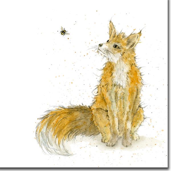 Fergus Fox Watercolour Greeting Card designed by Sarah Boddy