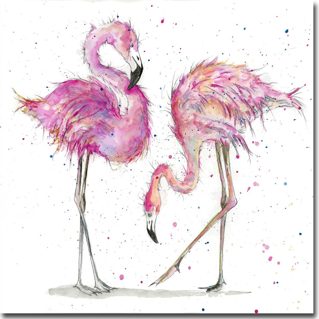 Flamingos Greeting Card designed by Sarah Boddy
