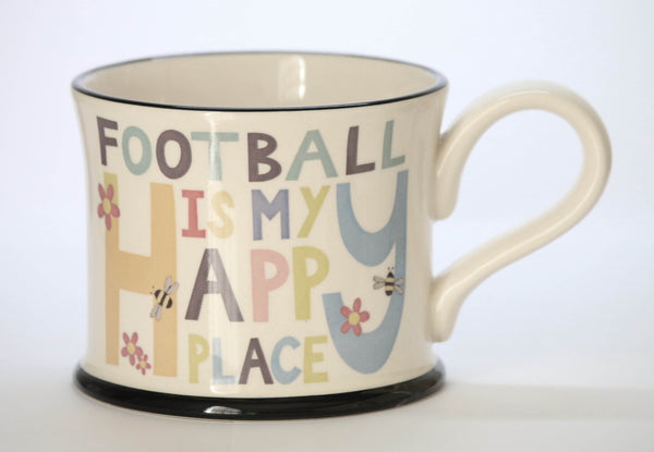 Football is my happy place earthen ware Mug by Moorland Pottery