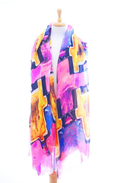 Digital print frayed edge pink and orange scarf