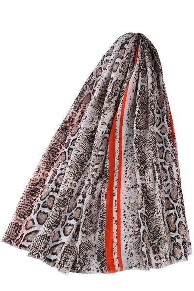 Glittered Snake Skin and Stripe Frayed Scarf