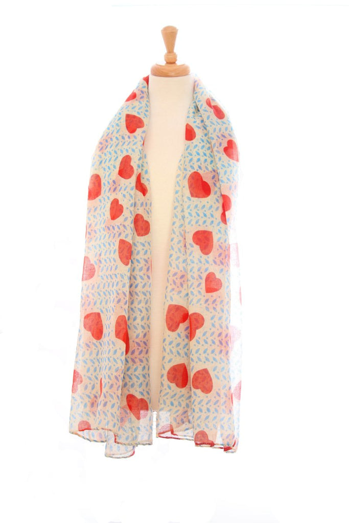 Viscose heart print tan and blue scarf