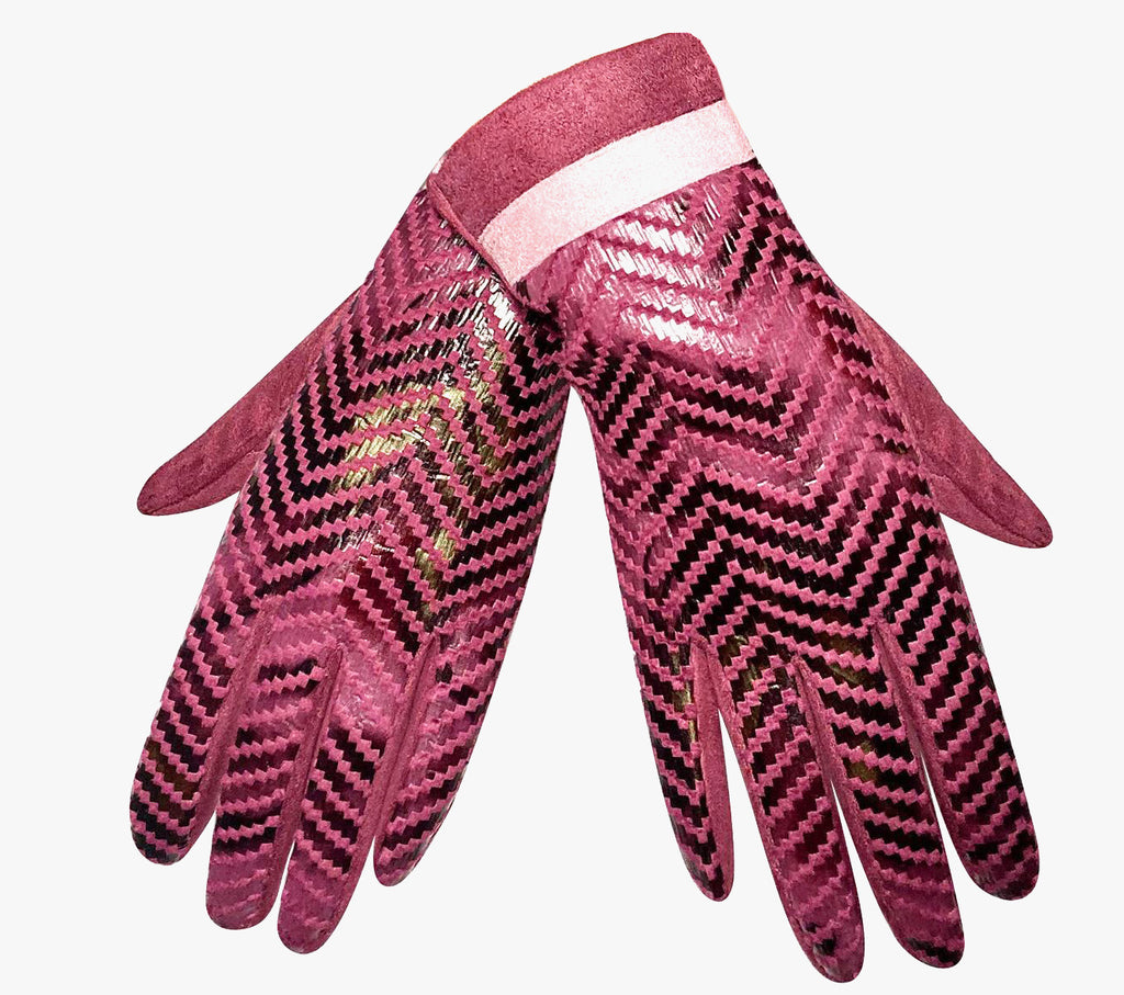 Luxury Snake skin print hot pink gloves