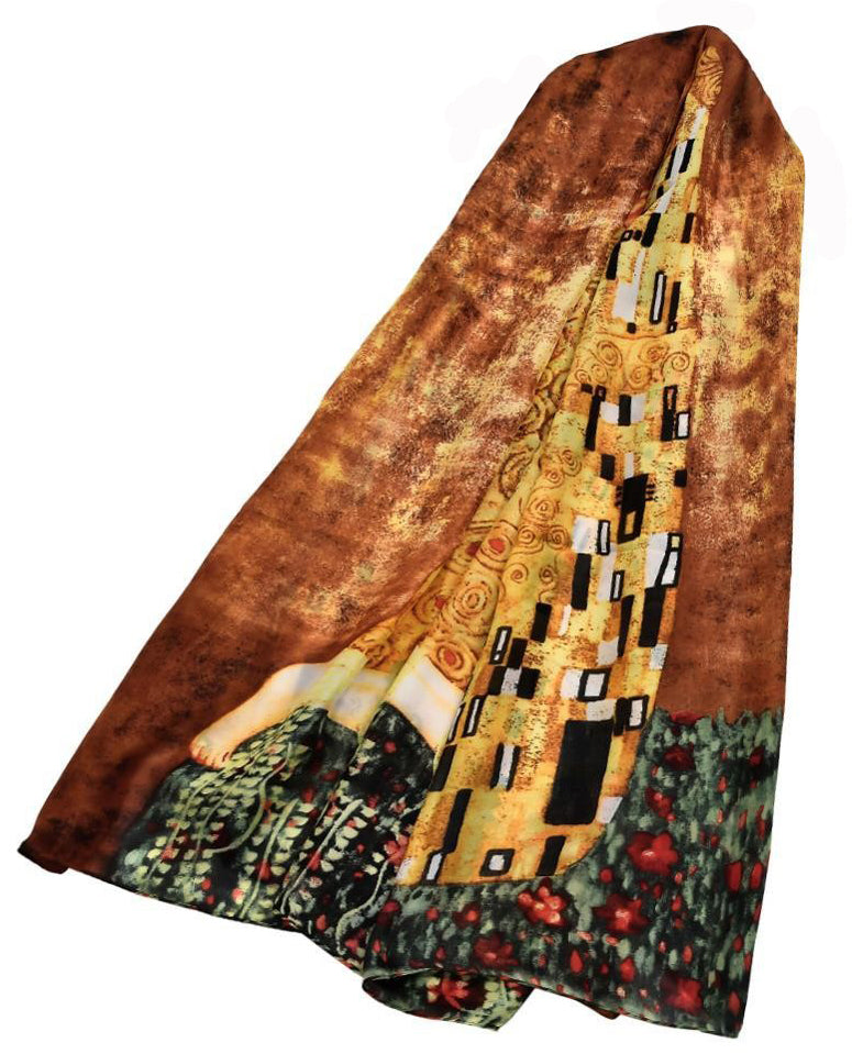 "Klimt 'The Kiss Painting"" Print Silk Scarf."