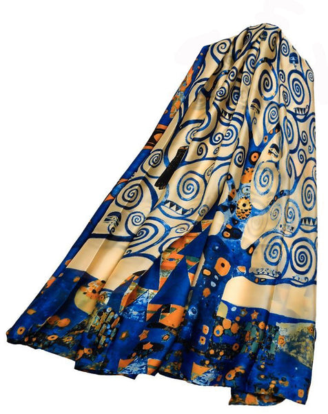 "Klimt 'The Tree of Life Painting"" Print Silk Scarf."