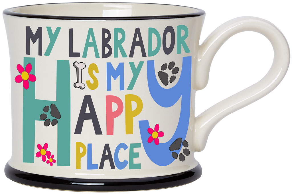 My Labrador is my Happy Place Earthen ware mug by Moorland Pottery.