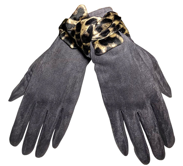 Suede style gloves with Leopard Print Bow