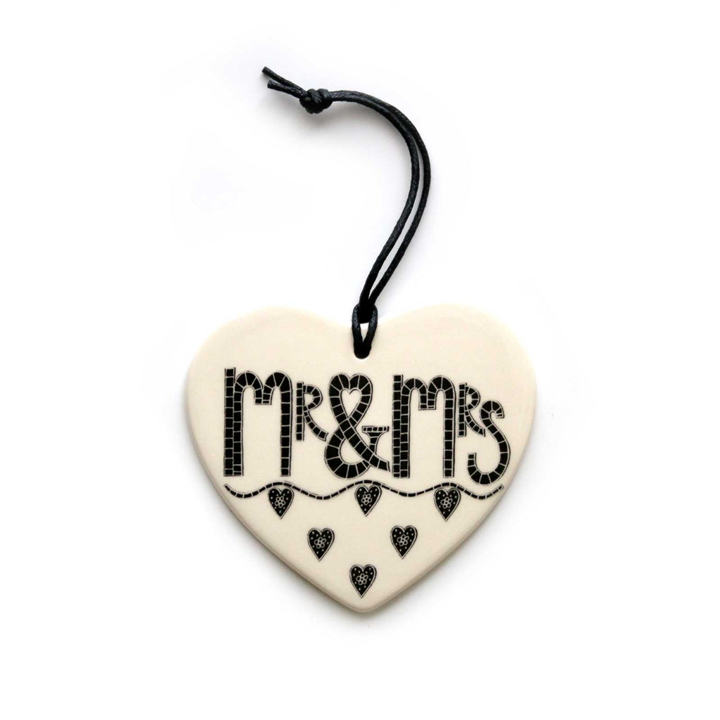 Mr & Mrs Hanging heart decoration by Moorland pottery