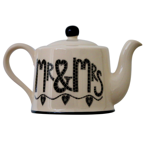 Mr & Mrs - Earthen Ware Tea Pot by Moorland Pottery