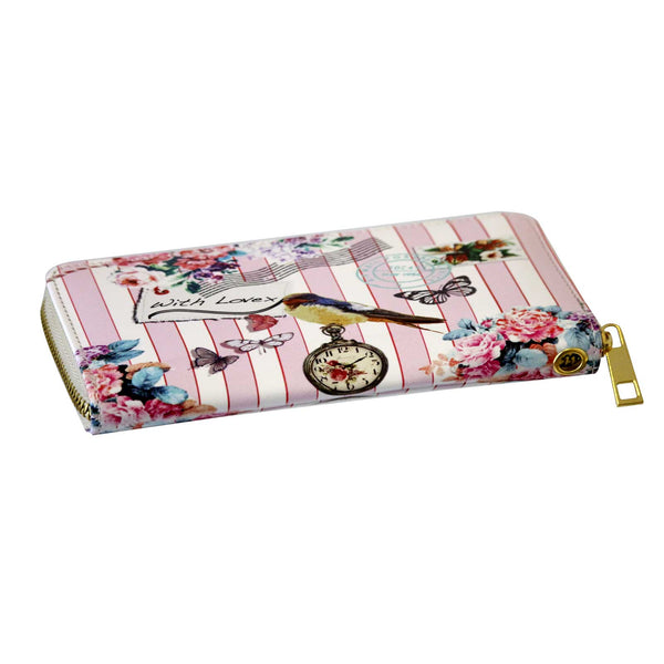 Nautical Bird print purse pink