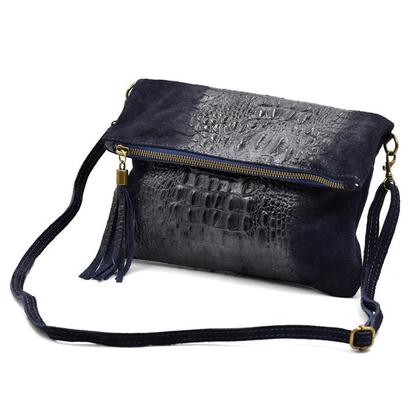 Italian suede clutch bag with croc panel detail in Navy blue
