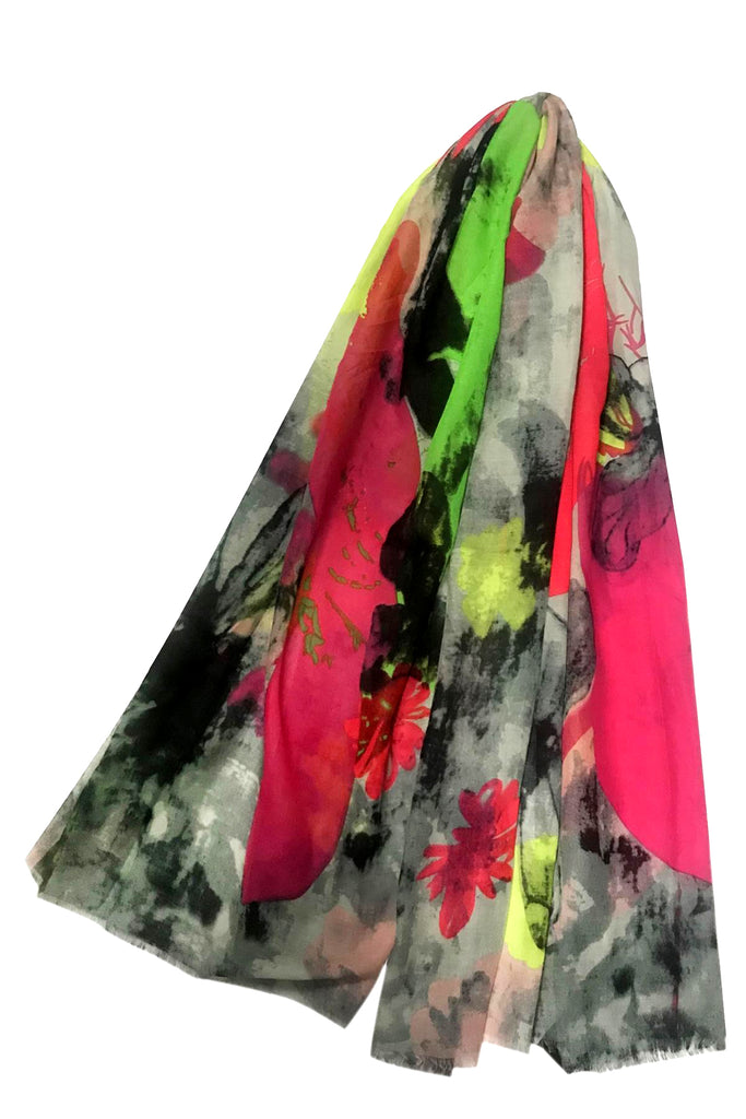 Neon Parrot and Flower Print Scarf
