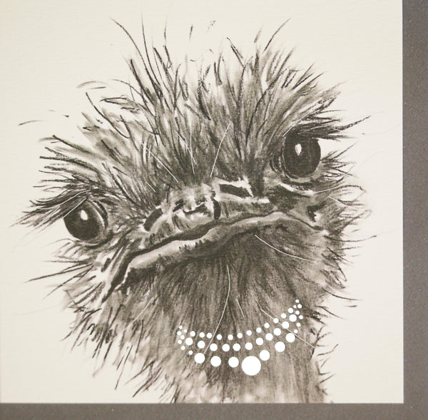 Olga ostrich greeting card