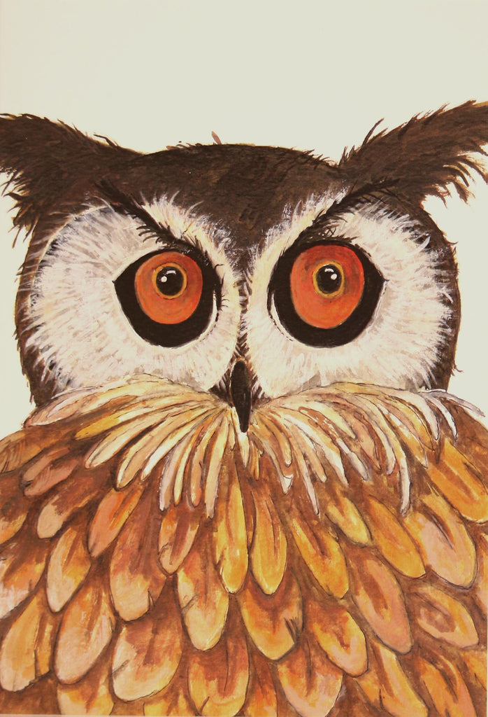 Owl greeting card by Clare Tyas