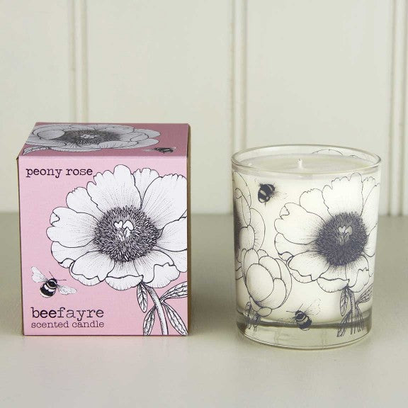 Peony Rose Large Candle by Beefayre