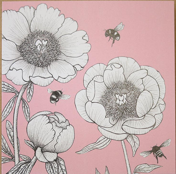 Peony rose greeting card designed by Beefayre