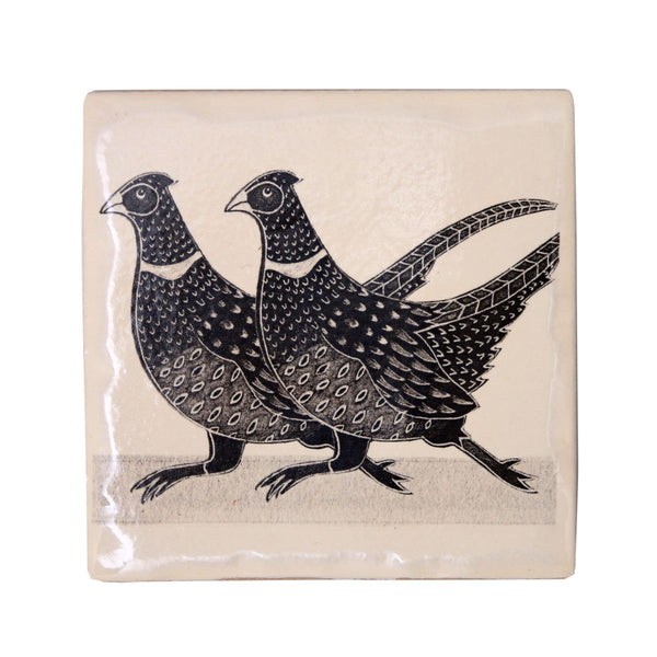 Pheasant Coaster made by Moorland Pottery