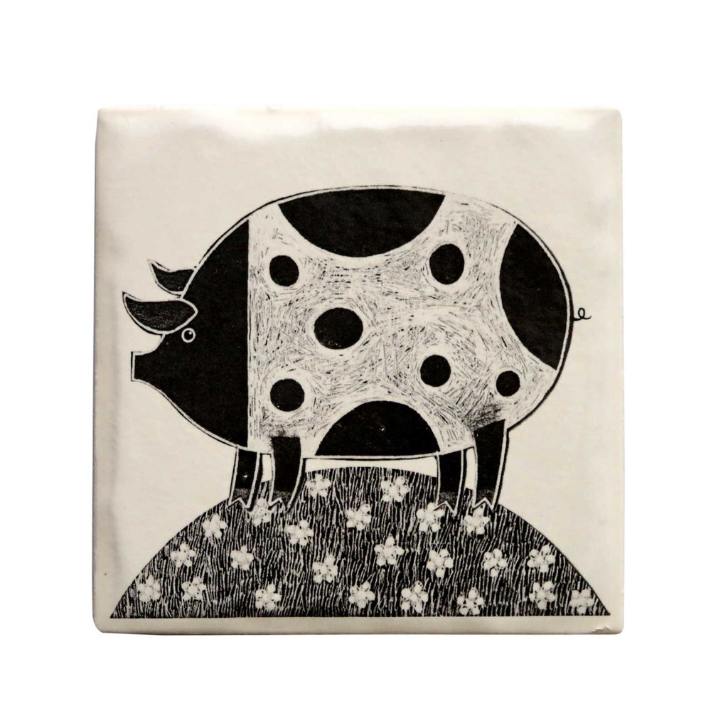 Pig Ceramic Coaster by Moorland pottery