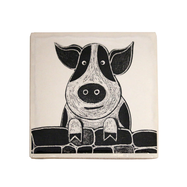 New Pig Ceramic Coaster by Moorland Pottery.