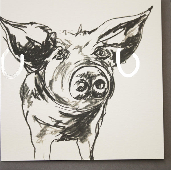 Polly pig Greeting Card designed by Sarah Boddy