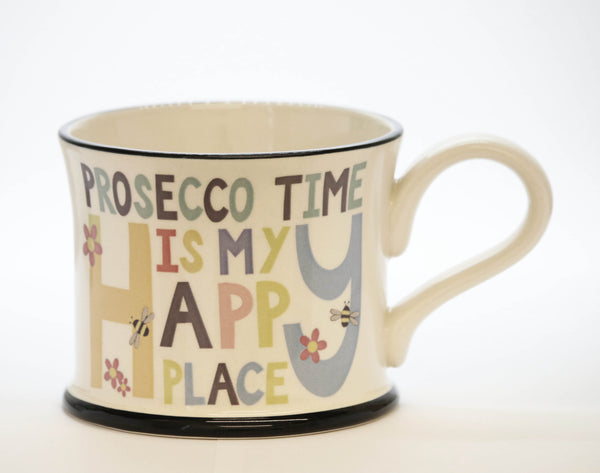 Prosecco time's my happy place earthen ware Mug by Moorland Pottery