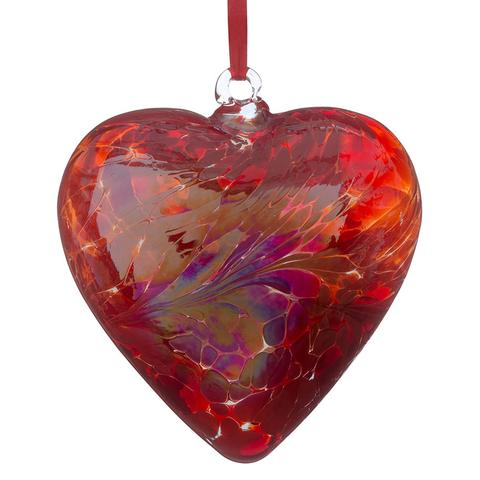 Friendship hand crafted Red hanging heart by Sienna glass