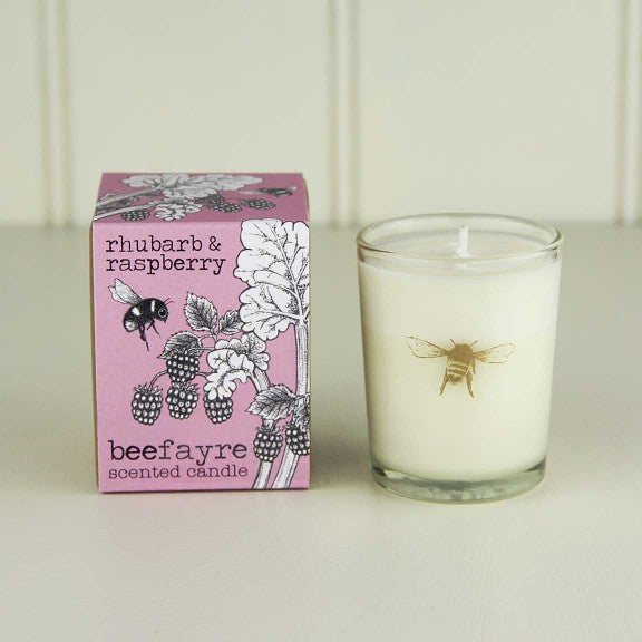 Rhubarb & Raspberry Votive Candle by  Beefayre